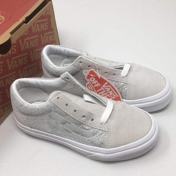 4d9a2b24b5ea VANS Old Skool Metallic Snake Silver Shoes Size 11